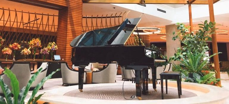 a piano in a restaurant