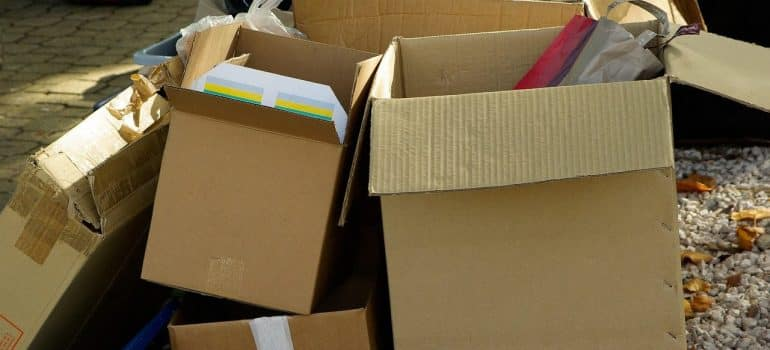 a stack of empty boxes