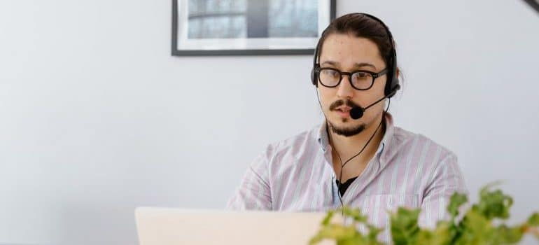 A man working in customer service