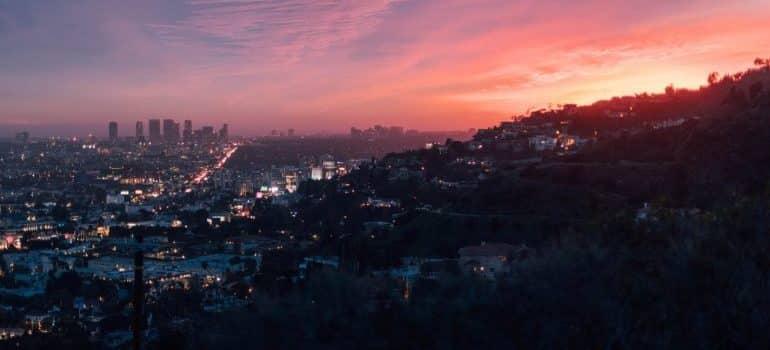 A city skyline at dusk